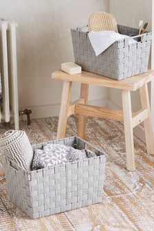 Set of 2 Woven Fabric Storage Baskets