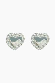 Silver Cubic Zirconia Heart Stud Earrings