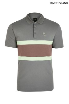 River Island Purple Bruise Maison Blocked Polo Shirt