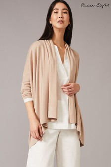 Phase Eight Neutral Dawn Drape Front Cardigan