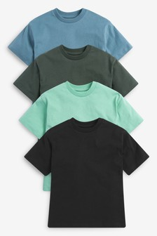 4 Pack Relaxed Drop Shoulder Skate Fit Short Sleeve T-Shirts (3-16yrs)