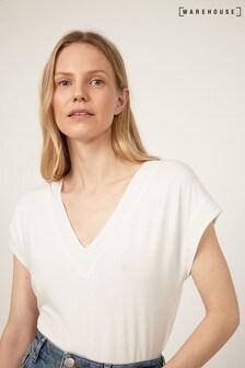 Woven Mix V-Neck T-Shirt