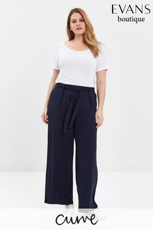 Evans Curve Navy Jersey Wide Leg Trousers