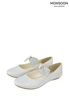 Monsoon Silver Bow Ballerinas