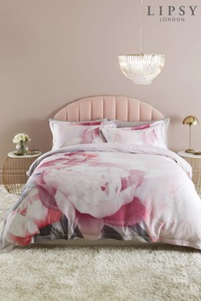 Lipsy 100% Cotton Sateen 200 Thread Count Pink Floral Duvet Cover and Pillowcase Set