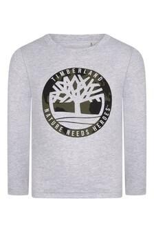 Boys Grey Organic Cotton Jersey T-Shirt