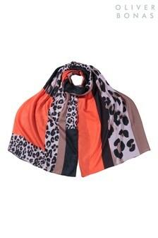 Oliver Bonas Animal Colourblock Orange Lightweight Scarf