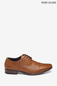 River Island Brown 5118 Emboss Toecap Derby Shoes