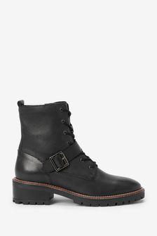 Signature Square Toe Lace-Up Boots