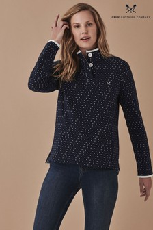 Crew Clothing Company Blue Half Button Printed Sweatshirt
