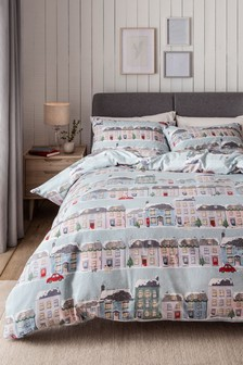 Brushed 100% Cotton Cosy Houses Duvet Cover and Pillowcase Set