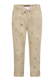 Boys Beige Cotton Pull-On Trousers