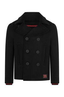 Boys Black Wool & Cashmere Coat