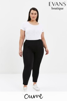 Evans Curve Black Stretch Tapered Trousers