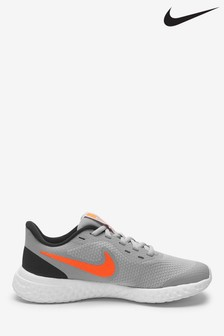 Nike Run Grey/Red Revolution 5 Youth Trainers