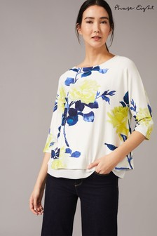 Phase Eight Cream Mina Photographic Bloom Floral Top
