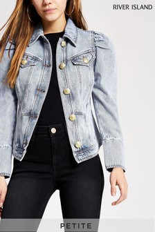 River Island Denim Medium Puff Sleeve Seamed Jacket