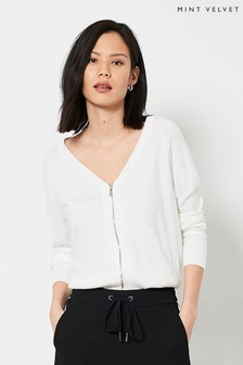 Mint Velvet Ivory V-Neck Zip Cardigan