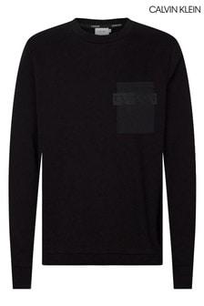 Calvin Klein Black Nylon Pocket Sweatshirt
