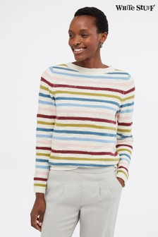 White Stuff Blue Artisan Stripe Button Jumper