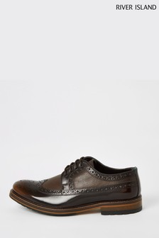 River Island Dark Brown Leather Brogue Derby Shoes