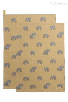 Set of 2 Sophie Allport Elephant Tea Towels