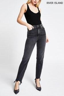 River Island Black Mom High Rise Sherbert Jeans