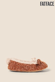 FatFace Brown Darcy Deer Ballerina Slippers