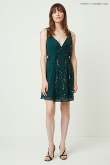 French Connection Green Aurora Embellished Wrap Dress