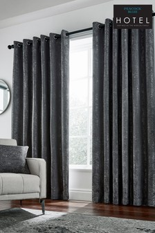 Peacock Blue Roma Metallic Weave Lined Eyelet Curtains