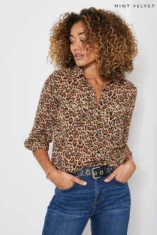 Mint Velvet Natural Isabel Animal Print Blouse