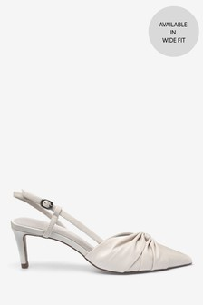 Twist Detail Leather Slingbacks