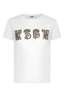 Girls White Cotton Gold Sequins Logo T-Shirt