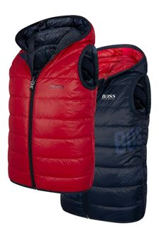 Boys Red/Navy Reversible Padded Gilet