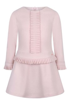 Girls Pink Cotton Long Sleeve Dress