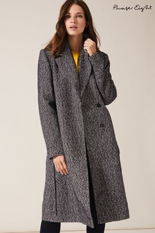 Phase Eight Blue Tess Tweed Belted Coat
