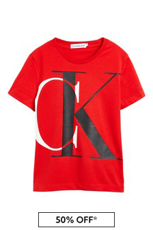 Boys Red Organic Cotton Logo Print T-Shirt