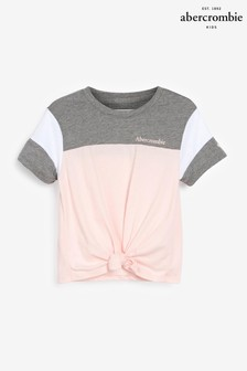 Abercrombie & Fitch Pink Colourblock Tie Front T-Shirt