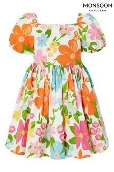 Monsoon White S.E.W Otilia Floral Poplin Dress