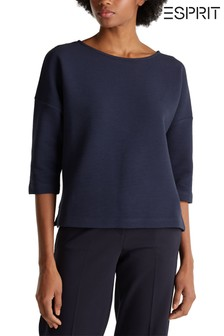 Esprit Blue Ottoman Sweatshirt With Drop Shoulder And 3/4 Sleeves