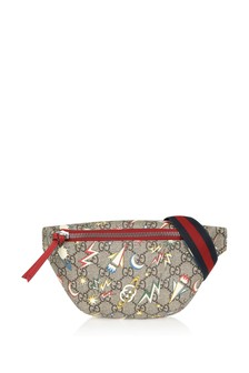 Kids Beige GG Space Print Bum Bag