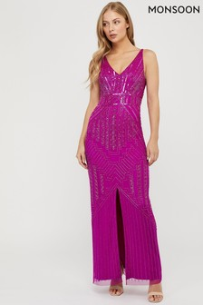 Monsoon Pink Eva Embellished Maxi Dress