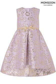 Monsoon Ida Pink Jacquard Hi-Low Dress