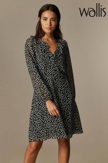 Wallis Black Ditsy Spot Button Dress