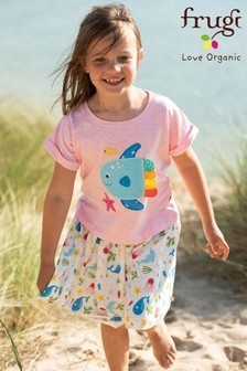 Frugi® White GOTS Organic Full Skirt In Sea Creatures Print