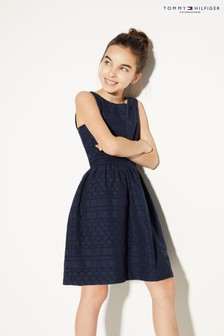 Tommy Hilfiger Blue Broderie Anglaise Dress