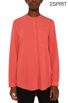 Esprit Orange Front Botton Long Sleeve Shirt