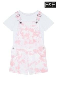 F&F Pink Tye Dye Bib Shorts And T-Shirt