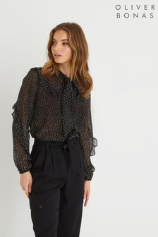 Oliver Bonas Black Fortune Pussy Bow Black Ruffled Top
