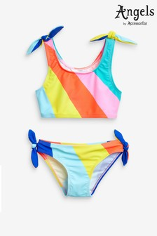 Angels by Accessorize Multi Rainbow Stripe Sporty Bikini